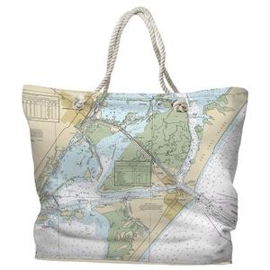 TX: Port Aransas, TX Water-Repellent Nautical Chart Tote Bag