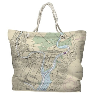 NJ: Newark, Jersey City, NJ Water-Repellent Nautical Chart Tote Bag