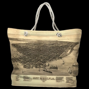 FL: Key West, FL, C. 1884 Vintage Bird's Eye View Water-Repellent Nautical Chart Tote Bag