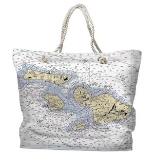 HI: Molokai, Lanai, Maui, Kahoolawe, HI Water-Repellent Nautical Chart Tote Bag