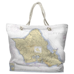 HI: Oahu, HI Water-Repellent Nautical Chart Tote Bag