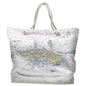 USVI: St. Thomas, USVI Water-Repellent Nautical Chart Tote Bag