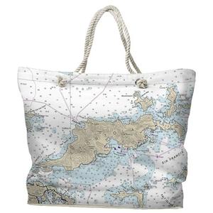 BVI: Tortola, BVI Water-Repellent Nautical Chart Tote Bag