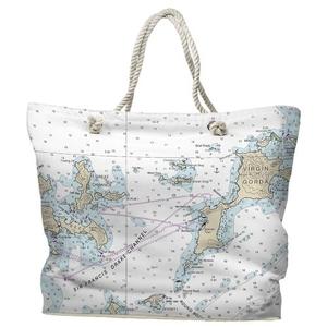 BVI: Virgin Gorda, BVI Water-Repellent Nautical Chart Tote Bag