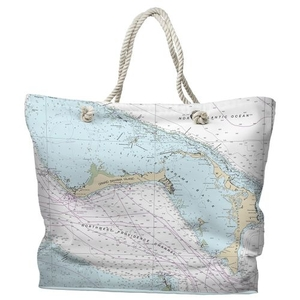 BAHAMAS- Grand Bahama, Abaco, Bahamas Water-Repellent Nautical Chart Tote Bag