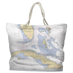 FL: Straits of Florida Water-Repellent Nautical Chart Tote Bag