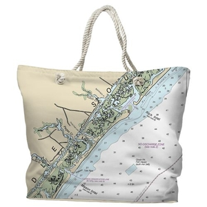 NC: Figure Eight Island, NC Water-Repellent Nautical Chart Tote Bag