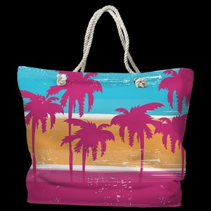 Palm Trees Tote Bag with Nautical Rope Handles