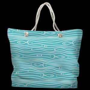 Swimming Fish Tote Bag with Nautical Rope Handles