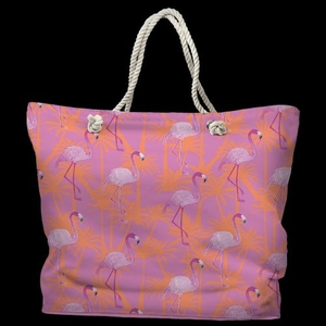 Pink Flamingos Tote Bag with Nautical Rope Handles