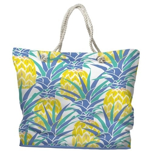 Pineapple Isle Tote Bag with Nautical Rope Handles