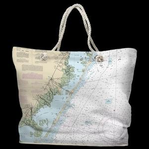 NJ: Long Beach Island, NJ Water-Repellent Nautical Chart Tote Bag