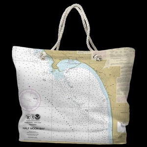 CA: Half Moon Bay, CA Water-Repellent Nautical Chart Tote Bag