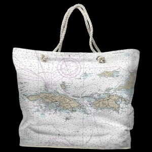 USVI: St. Thomas, St. John, USVI Water-Repellent Nautical Chart Tote Bag