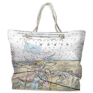 FL: Jupiter Inlet, FL Water-Repellent Nautical Chart Tote Bag
