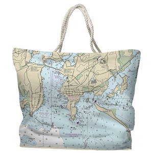 CT: Stonington, CT Water-Repellent Nautical Chart Tote Bag