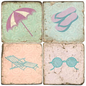 Beach Props Marble Coasters Set Of 4