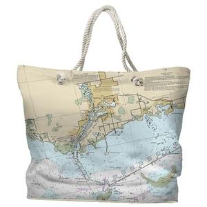 FL: Tarpon Springs, FL Water-Repellent Nautical Chart Tote Bag