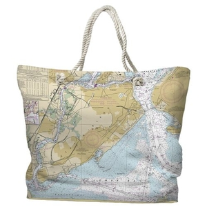 NY: Staten Island, NY Water-Repellent Nautical Chart Tote Bag