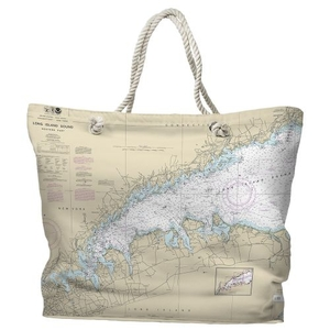 NY: Long Island Sound, NY Water-Repellent Nautical Chart Tote Bag