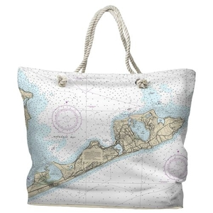 NY: Montauk, NY Water-Repellent Nautical Chart Tote Bag