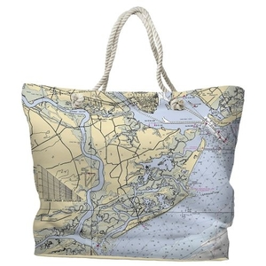 SC: James Island, Folly Island, SC Water-Repellent Nautical Chart Tote Bag