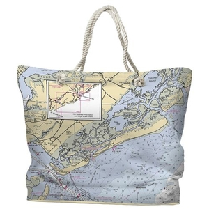 SC: Sullivans Island, Isle of Palms, SC Water-Repellent Nautical Chart Tote Bag