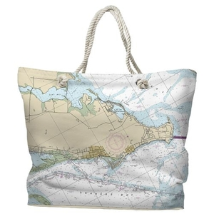 TX: Rockport, TX Water-Repellent Nautical Chart Tote Bag