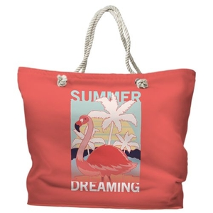 Summer Dreaming Flamingo Tote Bag with Nautical Rope Handles