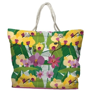 Orchid Garden Tote Bag with Nautical Rope Handles