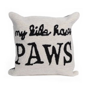 "Liora Manne Frontporch My Kids Have Paws Indoor/Outdoor Pillow Neutral 18"" Square"