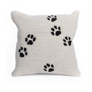 "Liora Manne Frontporch Paw Prints Indoor/Outdoor Pillow Neutral 18"" Square"