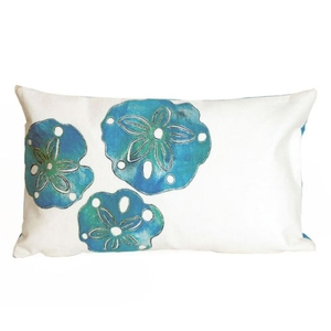 """Liora Manne Visions I Sand Dollar Indoor/Outdoor Pillow Pearl 12""""X20"""""""