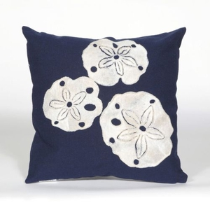 """Liora Manne Visions I Sand Dollar Indoor/Outdoor Pillow Navy 20"""" Square"""