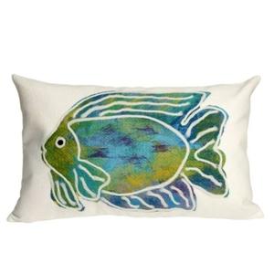 """Liora Manne Visions Ii Batik Fish Indoor/Outdoor Pillow Aqua 12""""X20"""""""