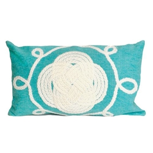 "Liora Manne Visions Ii Ornamental Knot Indoor/Outdoor Pillow Aqua 12""X20"""