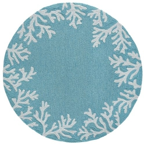 Coral Border Indoor/Outdoor Rug Blue