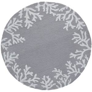 Coral Border Silver Indoor/Outdoor Rug
