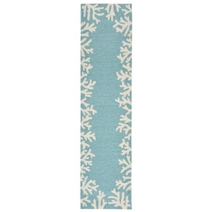 Coral Border Indoor/Outdoor Rug Aqua