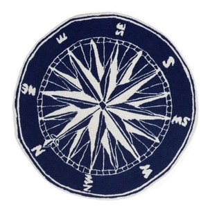Liora Manne Frontporch Compass Indoor/Outdoor Rug Navy 8' Rd