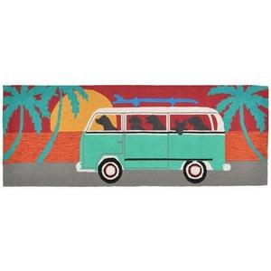 """Liora Manne Frontporch Beach Trip Indoor/Outdoor Rug Turquoise 24""""x60"""""""