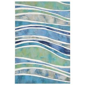 Liora Manne Portsmouth Nautical Strp Indoor/Outdoor Rug Grey
