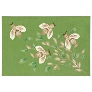 Bees Green Indoor/Outdoor Rug