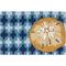 Sand Dollar on Blue Tile Accent Rug