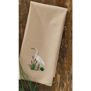 White Heron Embroidery Dishtowel