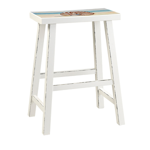 """Beach Island 24"""" Bar Stool White With Seat Painting Set Of 2"""