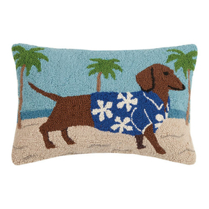 Hawaiian Dachshund Hook Pillow 12X18 in.