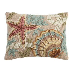 Starfish and Shell Hook Pillow 14x18""