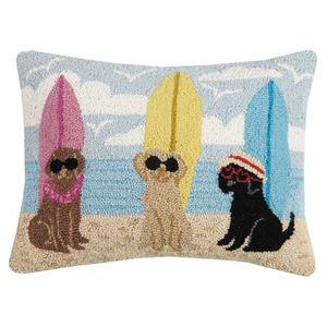 Dogs With SurfBoards Hook Pillow