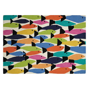 Rainbow Fish Hook Rug 34X47""